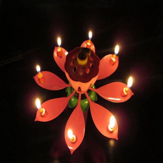 New Velas Decorativas Music Candle Birthday Party Wedding Lotus Sparkling Flower Candles Light Event Festive Supply 50pcs/lot wn371
