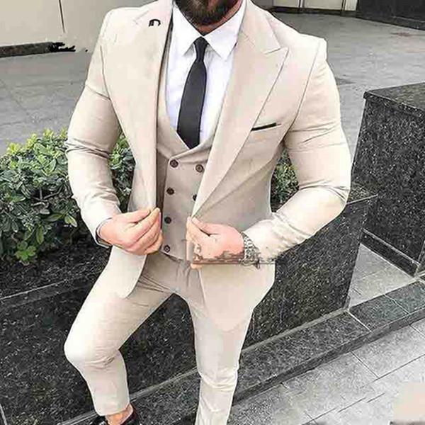 Latest Coat Pant Designs Beige Mens Suits For Wedding Slim Fit Groomsman Suit Custom made Wedding Tuxedos (jacket+pant+vest)