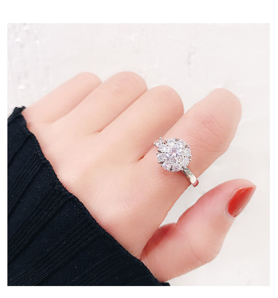 Vibrating Rotating Rings For Women Net Red Personality Japanese and Korean Zircon Open Ring Student Gift