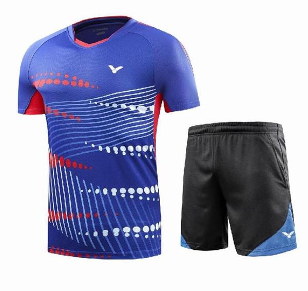 New 2018 victor men badminton T-shirts, men and Women Sportswear shirt, short sleeves+short shorts,quick dry Breathable tennis table shirts