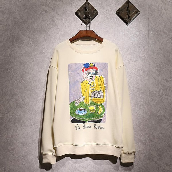 18ss Europe Italy Via Ponta Rossa Painting Autumn Sweatshirt Fashion Men Women Luxury Cotton Pullover Hoodie Jumpers