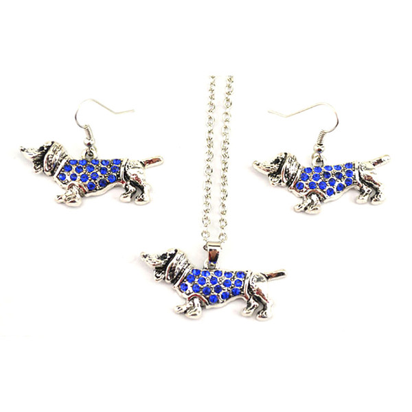 Dachshund Cute Dog Animal Charm Pendant Link Chain Studded With Crystals Rhinestone Necklace Earring Set Jewelry