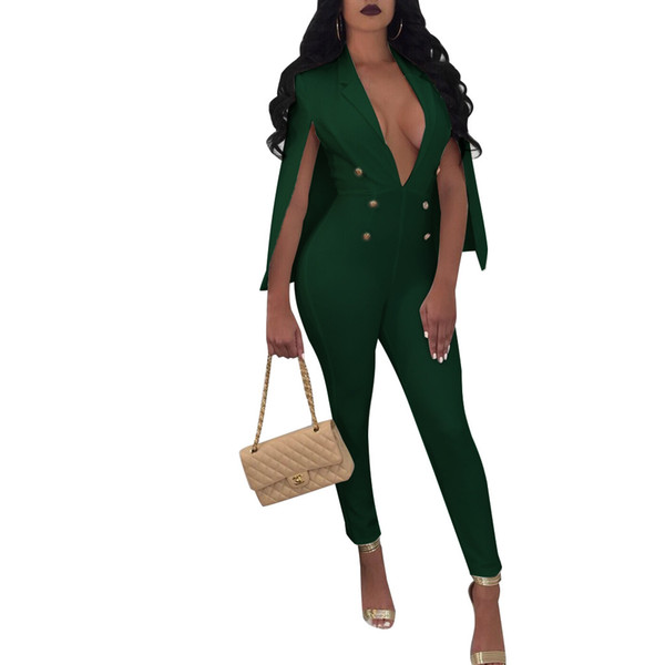 NEW Plus Size Cloak Sleeve Jumpsuits Button Sequins Jumpsuit V-Neck Women Office Fashion Long Pants Overalls Bodysuit Rompers