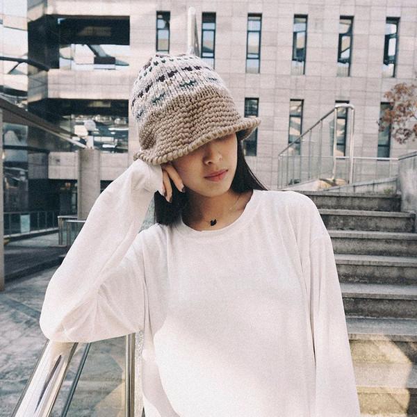 Compre Y Demo Sombrero De Pescador De Punto Con Volantes De Corea ...