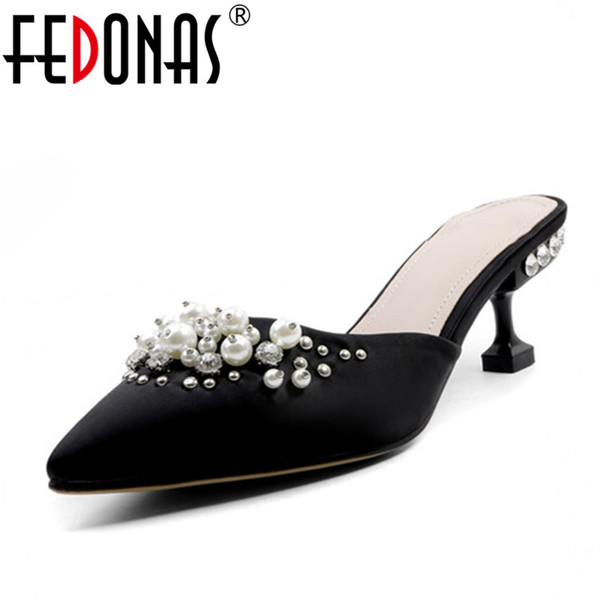 wholesale Women High Heels Shoes Cover Toe Shallow Beading Spring Summer Fashion Elegant Women Wedding Party Shoes Woman Sandals