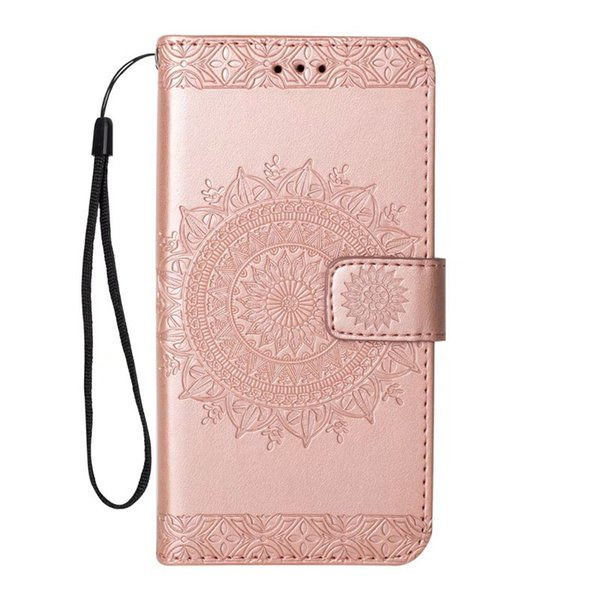 Aesthetic support cover for samsung briefcase Embossed sunflower PU kickstand case for Goophone X wallet case with hanging strap