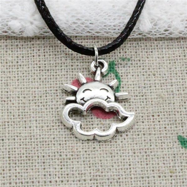 Creative Fashion Antique Silver Pendant sun cloud 20*17mm Necklace Choker Charm Black Leather Cord Handmade Jewlery
