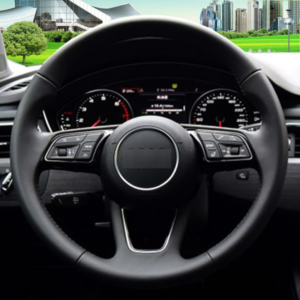 Black Leather Hand-stitched Car Steering Wheel Cover for Audi A4L A5 2017