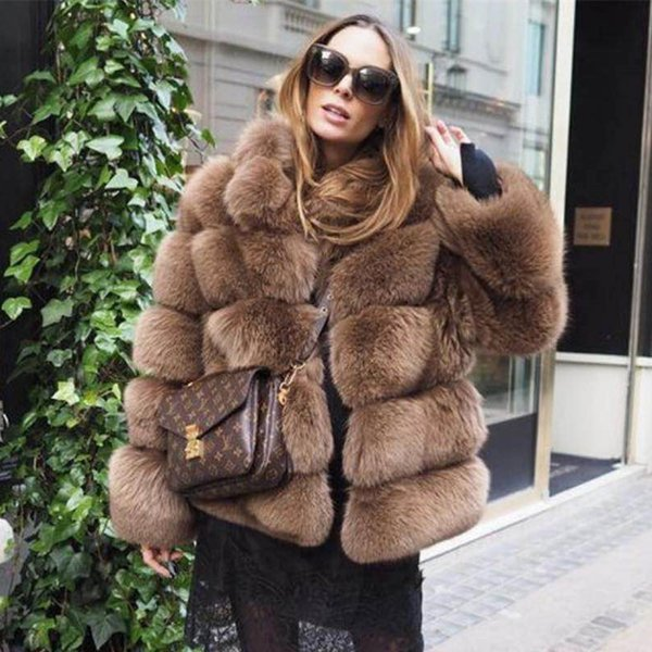 18692fc6c17 Women Real Fur Coat Thick Warm Female Natural Fox Fur Jacket Outerwear  Fashion Stand Collar Winter