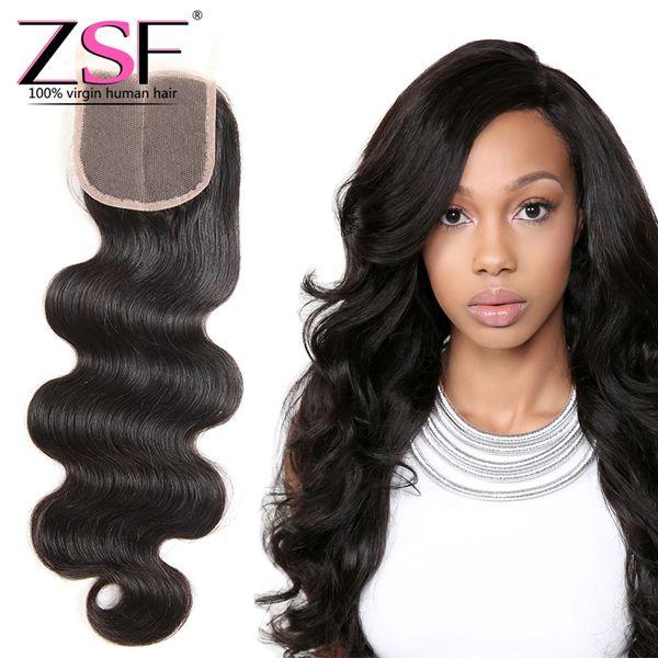 ZSF Best Price Hot Selling Brazilian Body Wave Hair 1Pcs 4*4 Closure Hair Extension Brazilian Virgin Human Hair Closure