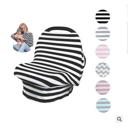 Baby Car Seat Cover With Hat Stripe Canopy Nursing Cover Stretchy Infinity Scarf Breastfeeding Shopping High Chair Cover 2pcs/ set 6 Styles