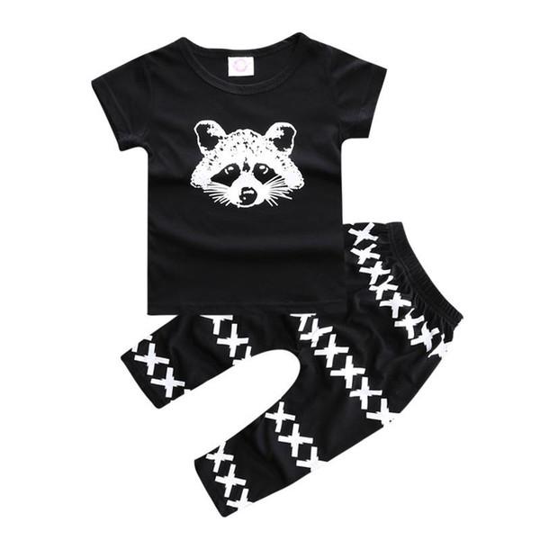 Bebek Setleri 2018 Yeni Yaz Stil Erkek Giysileri Tilki Baskılı Kısa Kollu T-shirt + Pantolon 2 Adet Çocuk Suit YY1670