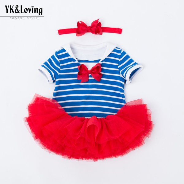 5d286d336e5a 2019 Navy Style Blue Striped Toddler Clothes Lovely Kids Rompers ...