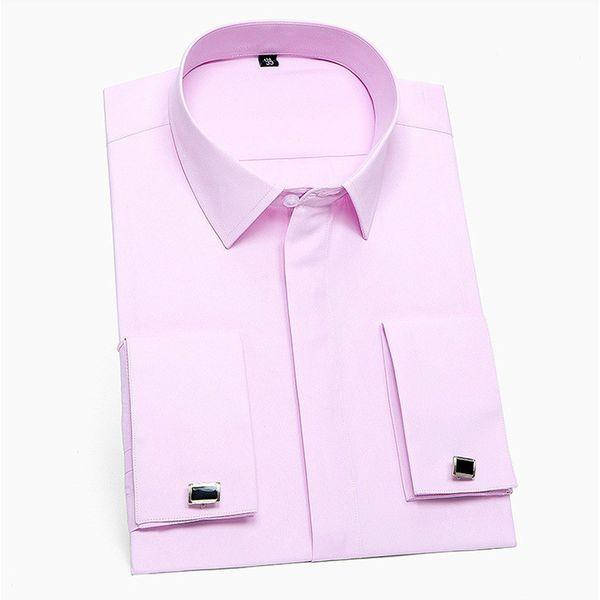 Quality Wedding Formal Luxury Men's French Cuffs Dress Shirts Pocket Long-Sleeve Button Slim Fit Tuxedo Shirt Cufflinks