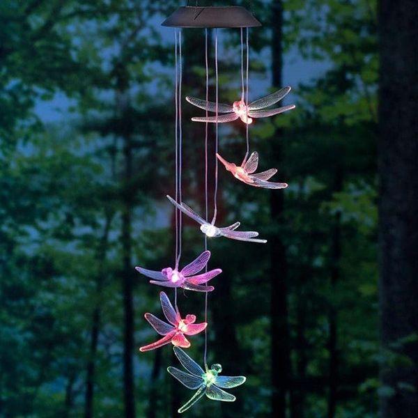 Solaire Mobile LED Lumière Couleur Changeante Vent Carillons Libellule Pendentif Éolienne Bell Jardin Jardin Carillons Lampe pour la maison H375