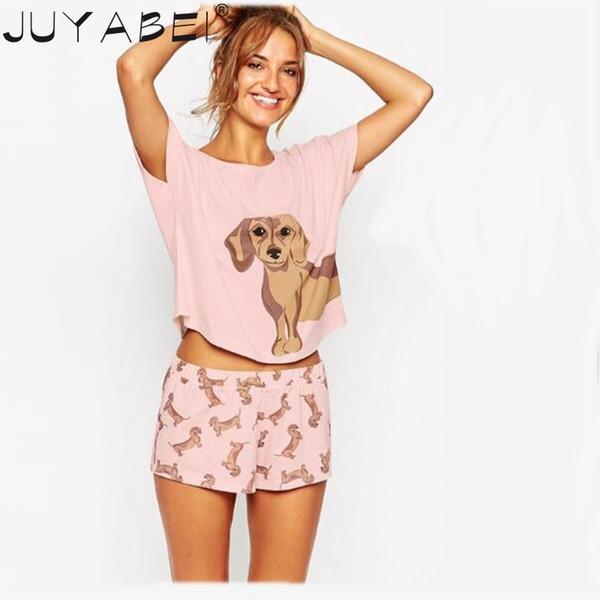 Pembe Ekle Boyut ekle Sevimli kadın Pijama Setleri Dachshund Baskı 2 Parça Set Kırpma Üst + Şort Elastik Bel Gevşek Artı Boyutu