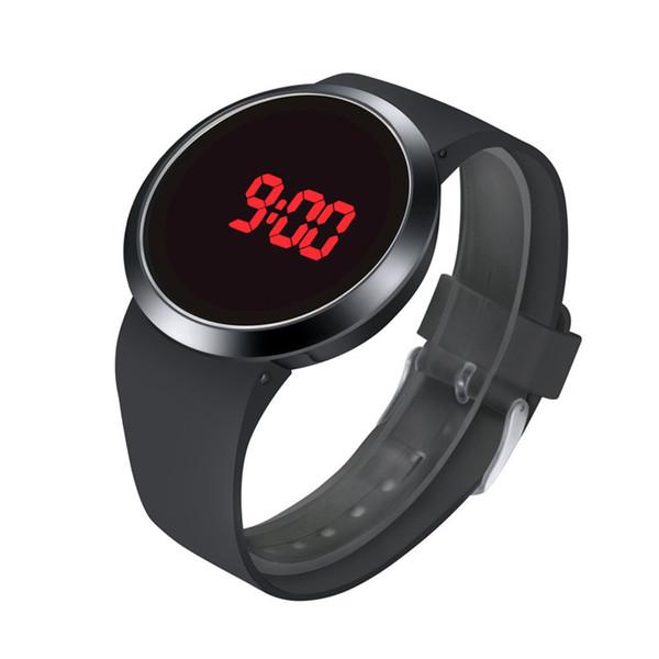 Moda homens impermeável LED touch screen dia data Silicone relógio de pulso elegante e contemporâneo