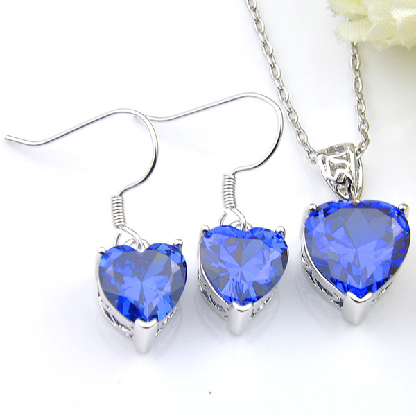 New Fashion Attractive Heart 5 Set/Lot Wholesale Crystal Blue Zircon Gems 925 Silver Chain Necklaces Pendant Earrings Wedding Jewelry Sets