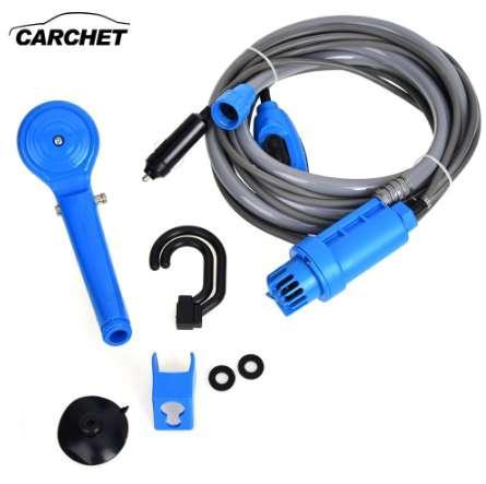 CARCHET 12V Electric Car Washer Plug Outdoor Camper Caravan Van Portable Camping Travel Shower universale