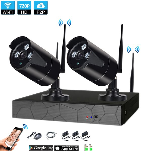 plug and play 2CH Wireless NVR 720P IR outdoor P2P WIFI 2 PCS 1.0MP CCTV Security Camera System Surveillance Kit