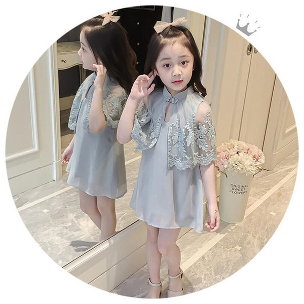 2018 Summer New Children's Dress Baby & Kids Korean Fashion Brief Lace Silk Turtleneck Batwing Sleeve Girl's Daily A-Line Dresses