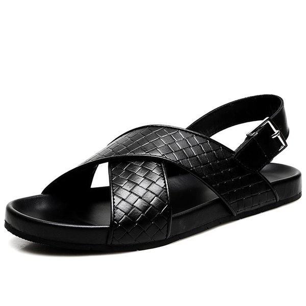 separation shoes 73cef 00a85 Großhandel Luxuury Brand Men Kuhleder Offene Zehensandalen Outdoor Sommer  Strandschuh Flach Crosing Woven Leder Hausschuhe Sandalen Upstream  Sandalen, ...