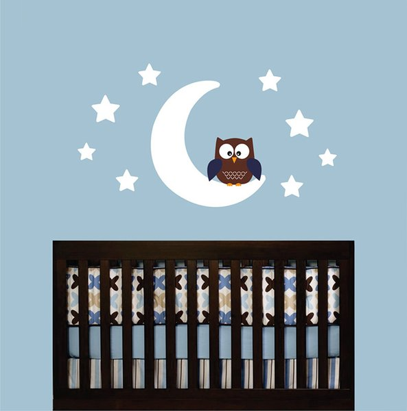 diy home decor Owl Moon Stars Wall Decal Sticker Mural Wallpaper Children Kids Baby Boy Room Bedroom Nursery Vinyl Art DIY Home