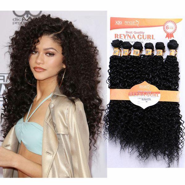 Water Wave 16 20inch Pack Hair Weaving Kinky Curly Synthetic Hair Extensions Black 1b 613 Blonde Double Weft Hair Weave Bundles Wedding Hair