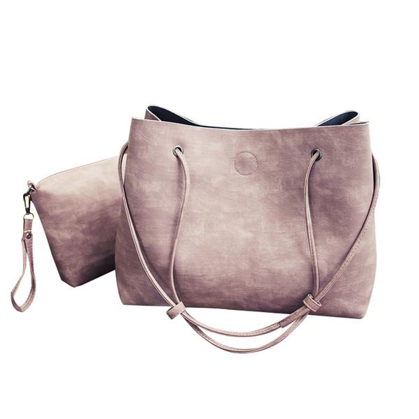 2 Pcs/Set Women Bucket Bag Faux Leather Shoulder Bag Tote Handbag Clutch Gift