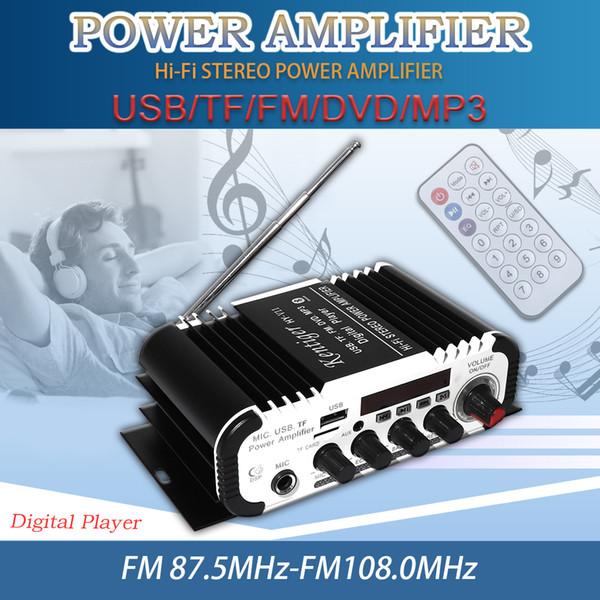 2CH HI-FI Bluetooth Car Audio Amplificador de Potencia Reproductor de Radio FM Compatibilidad con SD / USB / DVD / Entrada de MP3 para Coche Motocicleta Inicio CAU_117