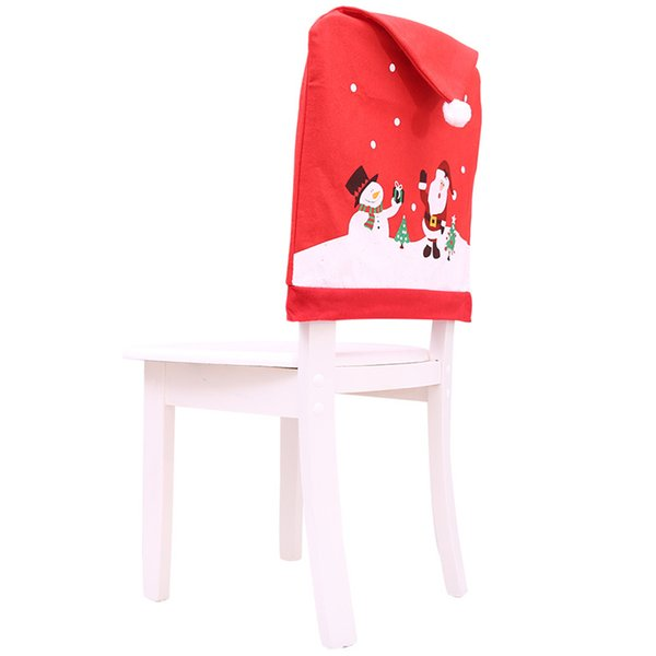 Christmas Hat Chair Cover Dinner Table New Year Party Supplies Xmas for Home Red Cap Santa Claus Snowman Back Ball Gift YWHB42