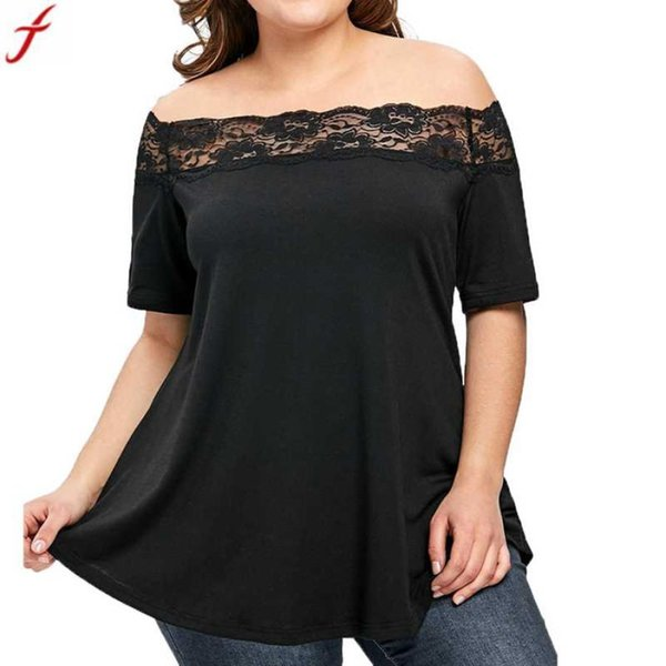 Off Shoulder Blouse Women 2018 Fashion Women Plus Size Lace Tunic Shirt Summer Short Sleeve Blouse Shirt Black Clothing
