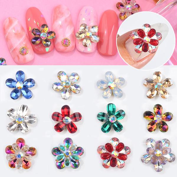 5pcs Flower Design AB Crystal Nail Art Rhinestones Colorful Glass Gems Jewelry 3D Glitter Decorations DIY Manicure Accessories