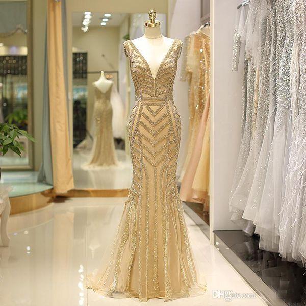 Lujo sirena de oro vestidos de baile profundo escote en v Sleevelss cadena de cristal vestido de noche formal de alta calidad vestido de fiesta largo