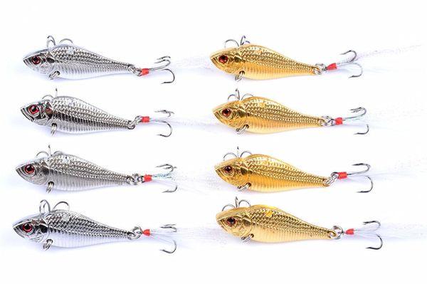 Gold Silver Color Metal VIB Laser Swimbaits Sinking Fishing lure 5cm 14.5g 3D Eyes Lifelike Fish Crankbaits Feather Hooks