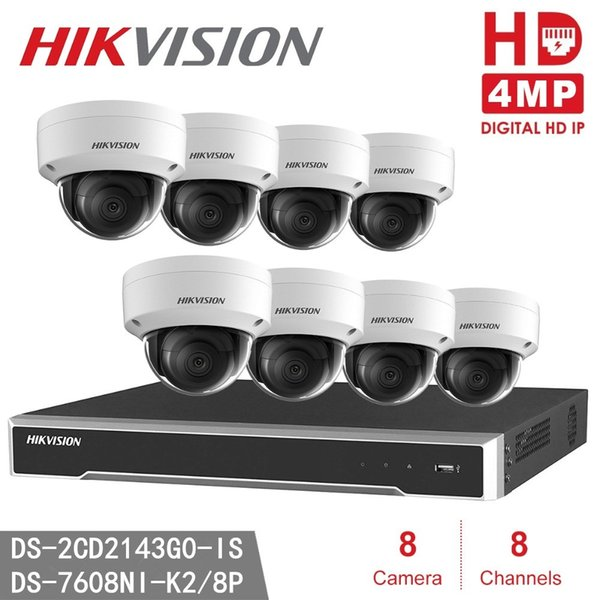 Sistema di videosorveglianza Hikvision DS-7608NI-K2 / 8P Sistema di videosorveglianza NVR H.265 8CH 8PO 4K 4K Home Security 8pcs DS-2CD2143G0-IS Telecamera dome CCTV IP