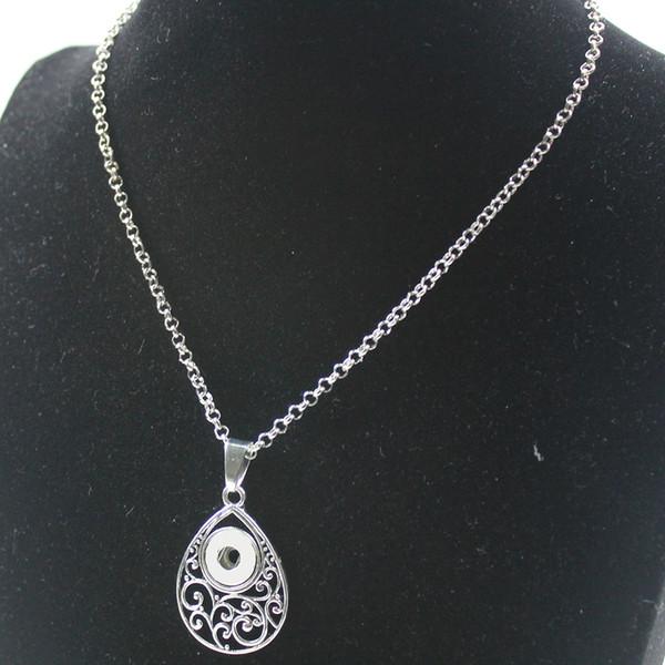 Bijoux de mode 12mm Snap Collier Chaîne Feuille Charme Conception Pendentif Colliers Pendentifs Femmes Collier Femme Cadeau
