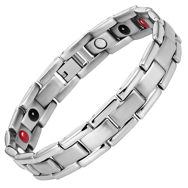 2018 LITTLE FROG Magnetic Health Bracelets Bangles For Men Stainless Steel Fashion Germanium Magnetic Therapy Jewelry