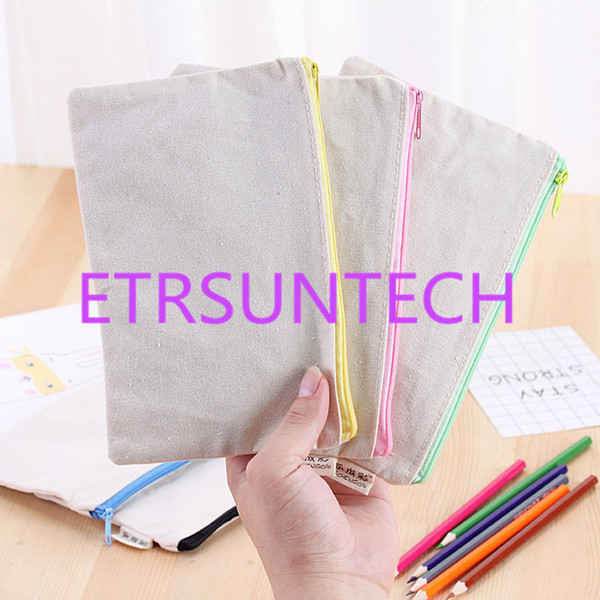 20.5*13m DIY White canvas blank plain zipper Pencil pen bags stationery cases clutch organizer bag Gift storage pouch QW7734
