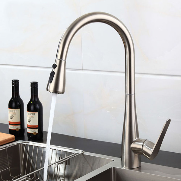 304 Stainless Steel Lead-free brushed nickel Kitchen Faucet Mixer pull out two function Water Filter Tap purified 466