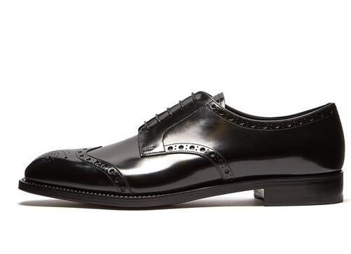 Men Patent Leather Shoes Black Oxfords Small Breathable Holes Business Wedding Flat Handmade Lace-up Men Dress Shoes