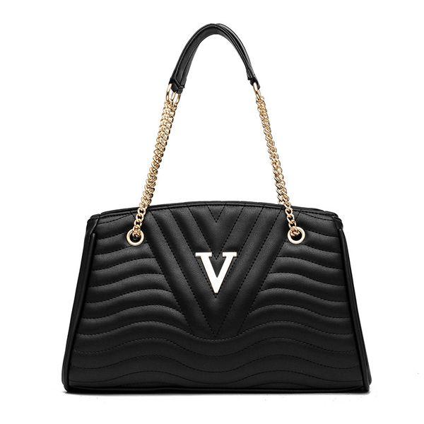 Europa Stil Mode Frauen Handtasche Weibliche PU Ledertaschen Handtaschen Büro Damen Tragbare Umhängetasche Schwarz Rot Khaki Kette Tasche Totes