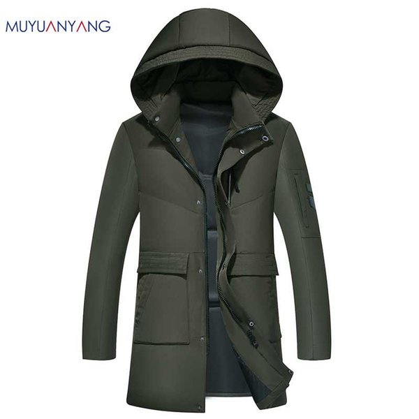 Mu Yuan Yang 2018 New Mens White Duck Down Jacket Fashion Thick Hat Detachable Down Jackets Men' s Casual Hooded Coat
