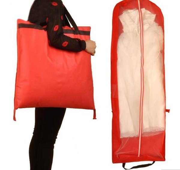 10pcs 155X55cm Red Color Garment Bag for Wedding Dress/Wedding Gown Non-woven Foldable Dust Cover/Storage Carry-on Bag
