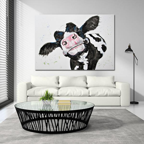 SELF SELBSTLOSE Aquarell Kuh Leinwand Malerei Wand Kunstdrucke Moderne Tierkunst Wandbilder für Wohnzimmer Ungerahmt