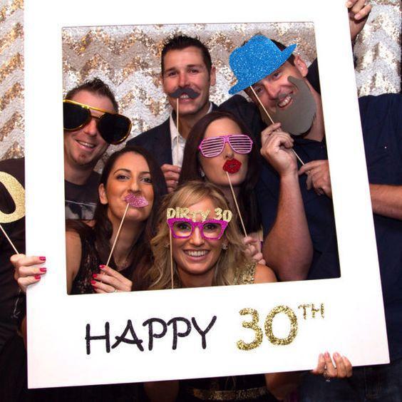 Mutlu Doğum Günü 30th Photo Booth Dikmeler Fotoğraf Çerçevesi Photobooth Yıldönümü 30 yıl 40 yıl 50 yıl Doğum Günü Süslemeleri Parti Malzemeleri