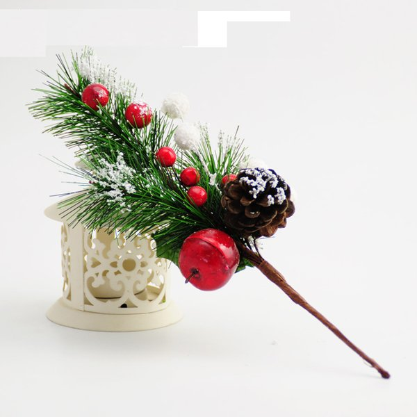 5pcs Artificial Simulation Decoration Flowers Branch Foam Red Fruit Pinecone Pine Needle Home Party Christmas Tree Ornament