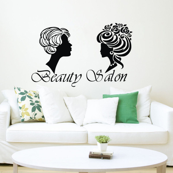 Girl Beauty Salon Wall Decorations For Creativity Wall Stickers Home Decor Two Fashion Women Wall Decals Vinyl