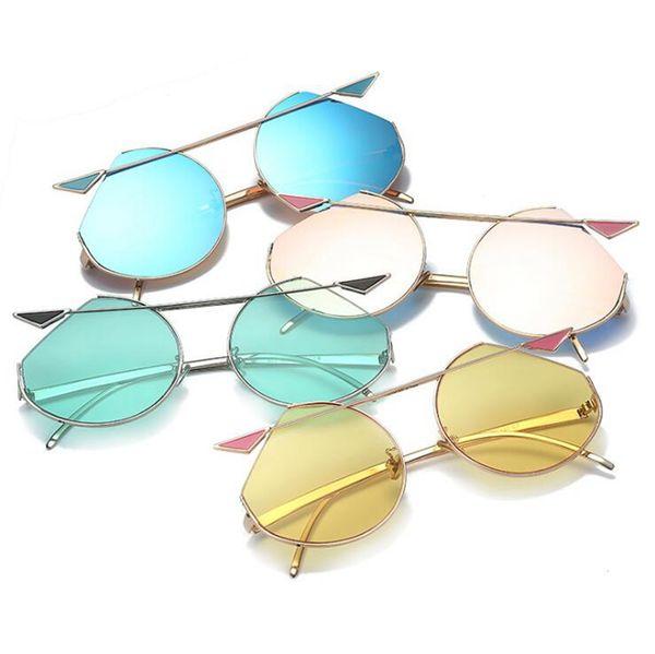 Cat Eyes Dazzle Color Sunglasses Metal Sun Glasses Mirror Lens Women Sunglasses Colorful Eyewear 7 Colors 10pcs OOA4682