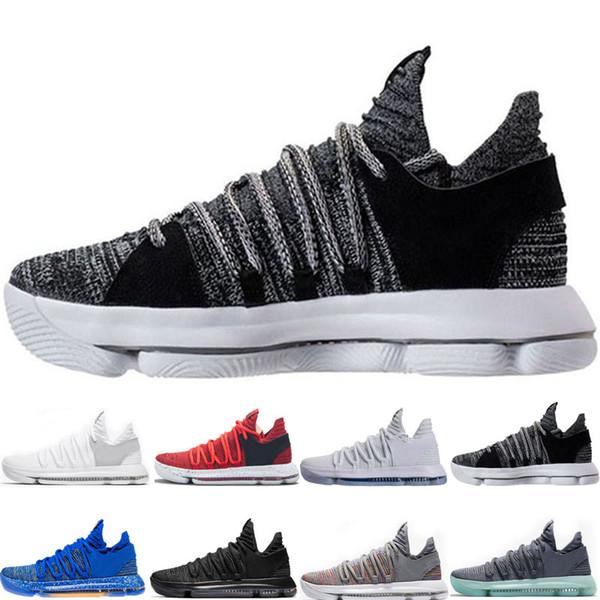 ücretsiz gönderim en kaliteli Yakınlaştırma KD 10 Yıldönümü PE BHM Oreo üçlü siyah Erkekler Basketbol Ayakkabıları 10 Düşük Kevin Durant Atletik Spor Spor ayakkabılar